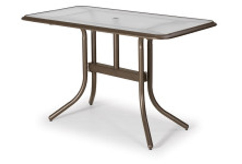 """Telescope Casual Glass Top 32"""" x 60"""" Rectangular Balcony Table with hole and Ogee Rim"""