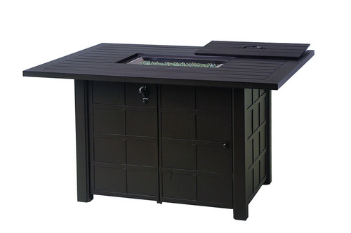 "Hanamint Fire Pit, Sherwood 47""x64"" Rectangular Enclosed Gas Counter Height Fire Pit Table"