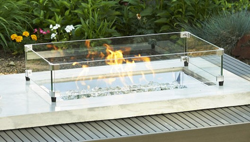 Outdoor Greatroom - Glass Guards for Rectangular 1224 Burners