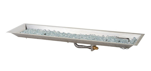 """Outdoor Greatroom 12"""" x 42""""  Linear Stainless Steel Crystal Fire Burner"""
