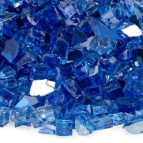 """American Fireglass 1/4"""" Cobalt Reflective Fire Glass"""