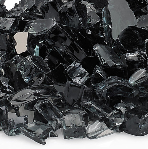 "American Fireglass 1/2"" Black Reflective Fire Glass"