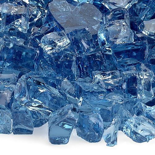 """American Fireglass 1/2"""" Pacific Blue Reflective Fire Glass"""
