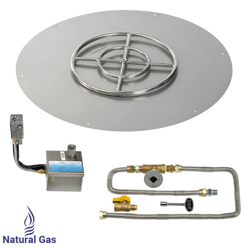 "American Fireglass 30"" Round Stainless Steel Flat Pan with S.I.T. System (18"" Ring) - Natural Gas"
