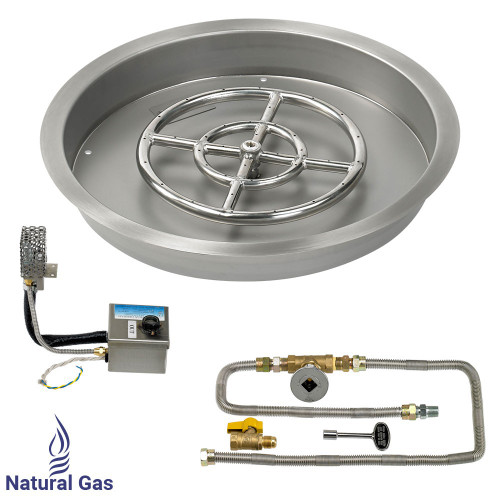 "American Fireglass 19"" Round Drop-In Pan with S.I.T. System (12"" Fire Pit Ring) - Natural Gas"