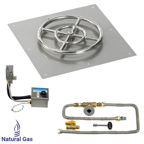 """American Fireglass 18"""" Square Stainless Steel Flat Pan with S.I.T. System (12"""" Ring) - Natural Gas"""
