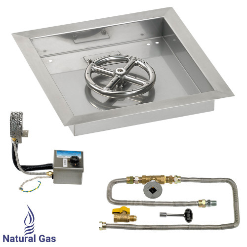"""American Fireglass 12"""" Square Stainless Steel Drop-In Pan with S.I.T. System (6"""" Ring) - Natural Gas"""