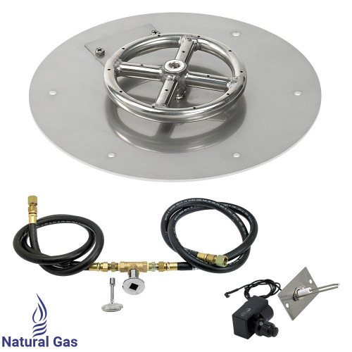 "American Fireglass 12"" Round Flat Pan with Spark Ignition Kit (6"" Ring) - Natural Gas"