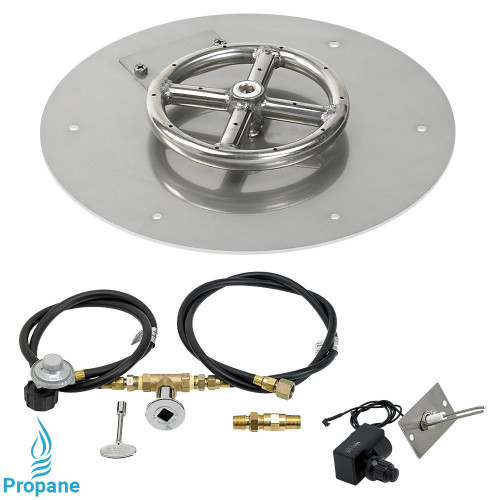 "American Fireglass 12"" Round Flat Pan with Spark Ignition Kit (6"" Ring) - Propane"