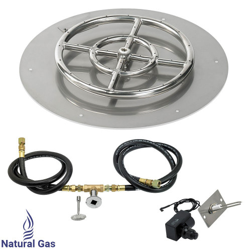 """American Fireglass 18"""" Round Flat Pan with Spark Ignition Kit (12"""" Ring) - Natural Gas"""