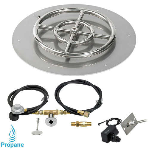 """American Fireglass 18"""" Round Flat Pan with Spark Ignition Kit (12"""" Ring) - Propane"""
