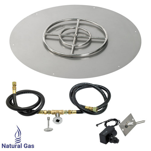 """American Fireglass 30"""" Round Flat Pan with Spark Ignition Kit (18"""" Ring) - Natural Gas"""