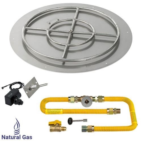 """American Fireglass 30"""" Round Flat Pan with Spark Ignition Kit (24"""" Ring) - Natural Gas"""