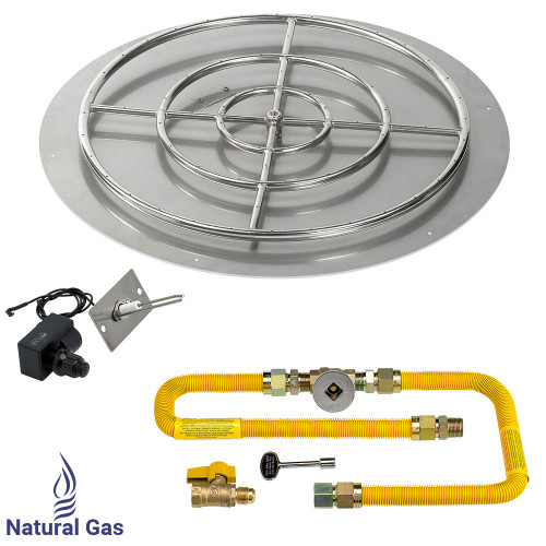 """American Fireglass 36"""" Round Flat Pan with Spark Ignition Kit (30"""" Ring) - Natural Gas"""