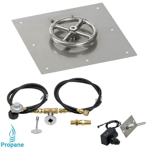 """American Fireglass 12"""" Square Flat Pan with Spark Ignition Kit (6"""" Ring) - Propane"""