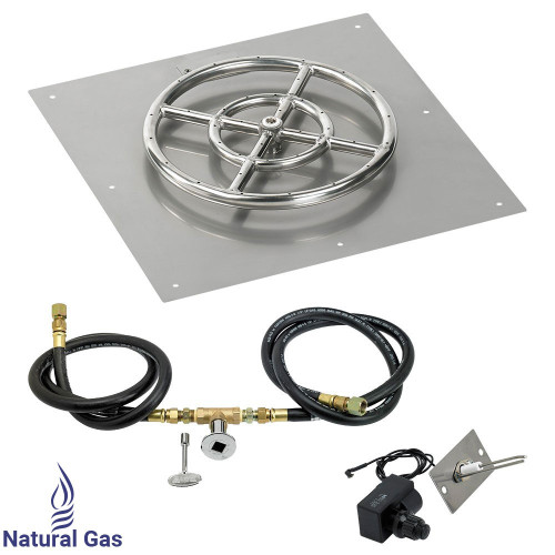 """American Fireglass 18"""" Square Flat Pan with Spark Ignition Kit (12"""" Ring) - Natural Gas"""