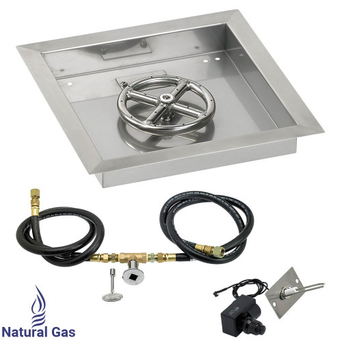 """American Fireglass 12"""" Square Drop-In Pan with Spark Ignition Kit (6"""" Fire Pit Ring) - Natural Gas"""