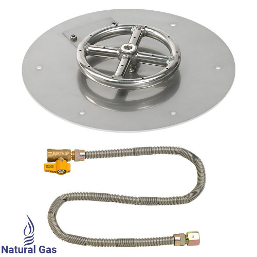 "American Fireglass 12"" Round Flat Pan with Match Light Kit (6"" Ring) - Natural Gas"