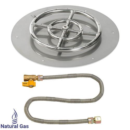 "American Fireglass 18"" Round Flat Pan with Match Light Kit (12"" Ring) - Natural Gas"