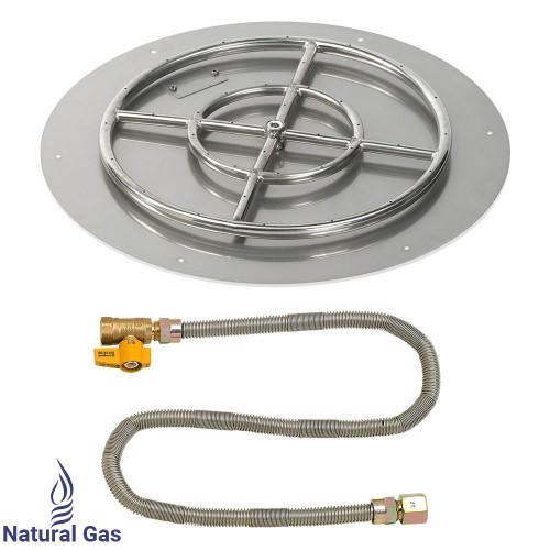 "American Fireglass 24"" Round Flat Pan with Match Light Kit (18"" Ring) - Natural Gas"