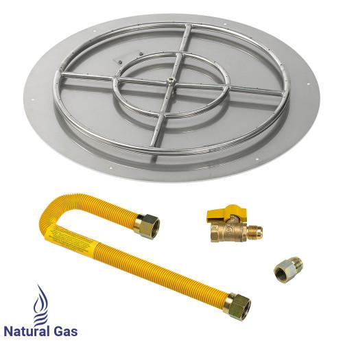 "American Fireglass 30"" Round Flat Pan with Match Light Kit (24"" Ring) - Natural Gas"