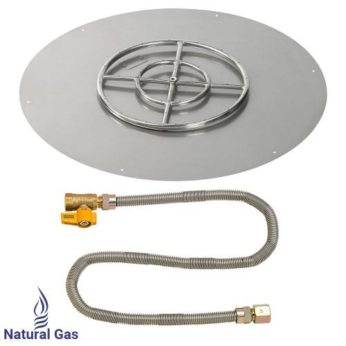 "American Fireglass 36"" Round Flat Pan with Match Light Kit (18"" Ring) - Natural Gas"