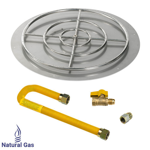 "American Fireglass 36"" Round Flat Pan with Match Light Kit (30"" Ring) - Natural Gas"
