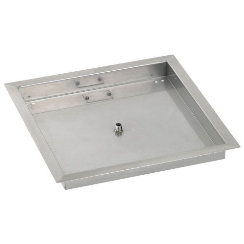 """American Fireglass 18"""" Square Stainless Steel Drop-In Fire Pit Pan (1/2"""" Nipple)"""