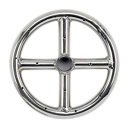 """American Fireglass 6"""" Single-Ring Stainless Steel Burner with a 1/2"""" Inlet"""