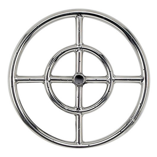 "American Fireglass 12"" Double-Ring Stainless Steel Burner with a 1/2"" Inlet"
