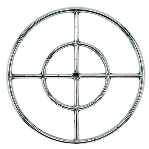 "American Fireglass 18"" Double-Ring Stainless Steel Burner with a 1/2"" Inlet"