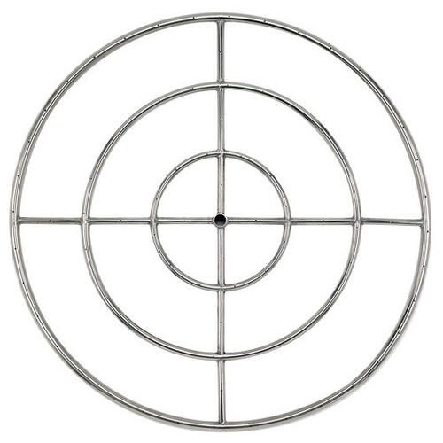 """American Fireglass 36"""" Triple-Ring Stainless Steel Burner with a 3/4"""" Inlet"""
