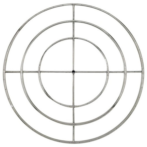"""American Fireglass 48"""" Triple-Ring Stainless Steel Burner with a 3/4"""" Inlet"""