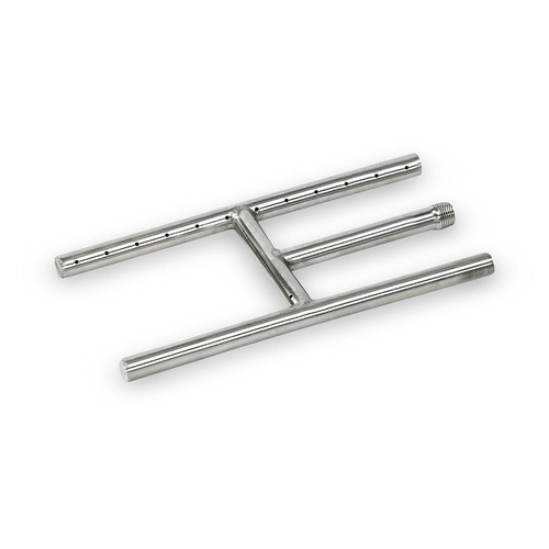 "American Fireglass 12"" x 6"" Stainless Steel H-Style Burner - Natural Gas"