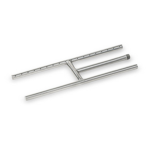 """American Fireglass 18"""" x 6"""" Stainless Steel H-Style Burner - Natural Gas"""