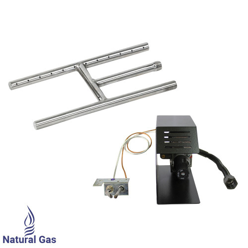 "American Fireglass 12"" Stainless Steel H-Style Burner w/ Manual Safety Pilot - Natural Gas"