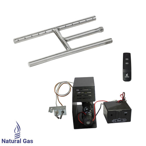"American Fireglass 12"" Stainless Steel H-Style Burner w/ Remote ON/OFF Safety Pilot - Natural Gas"