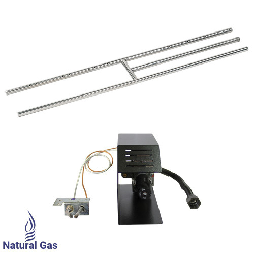 """American Fireglass 48"""" Stainless Steel H-Style Burner w/ Manual Safety Pilot - Natural Gas"""