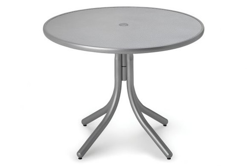 """Telescope Casual Embossed Aluminum Top 36"""" Round Dining Table with hole"""
