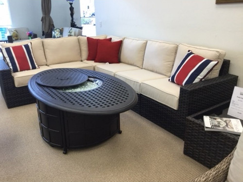 Patio Renaissance Del Mar 7 piece sectional promo with wide weave roasted pecan LIMITED QUANTITY IN STOCK