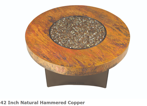 "Oriflamme 42"" Natural Hammered Copper Fire Table"