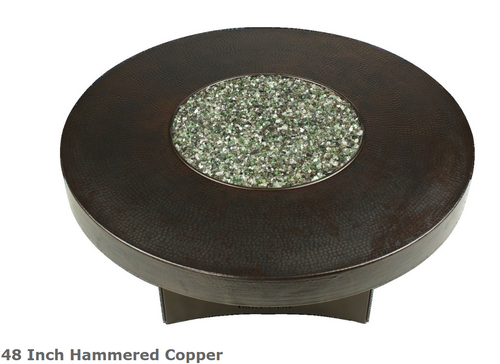 """Oriflamme 48"""" Hammered Copper Fire Table ."""