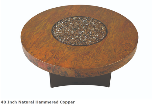 "Oriflamme 48"" Natural Hammered Copper Fire Table"