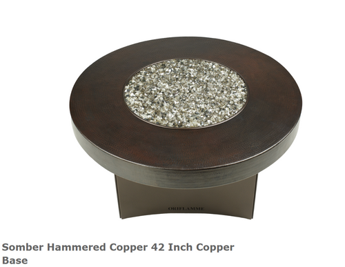 "Oriflamme Somber Hammered Copper 42"" Copper Base Fire Table"