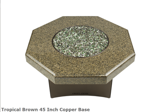 "Oriflamme Tropical Brown 45"" Copper Base Fire Table"