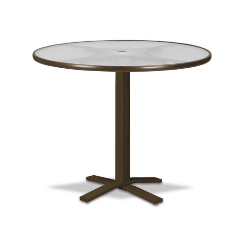 "Telescope Casual Glass Top Table 42"" Round Dining Height Pedestal Table w/ hole"