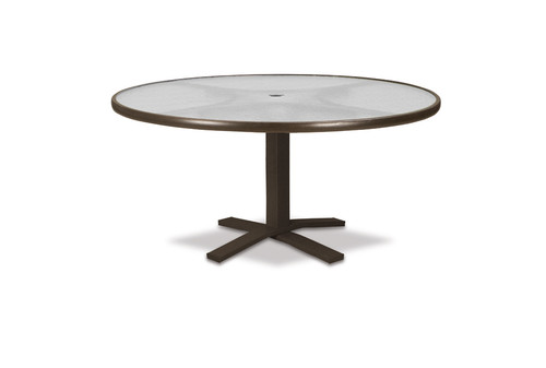 "Telescope Casual Glass Top Table 42"" Round Chat Height Pedestal Table w/ hole"