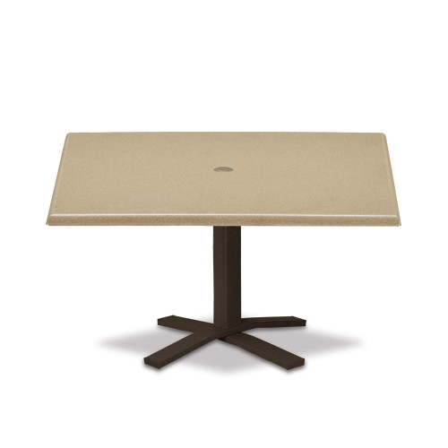 """Telescope Casual Werzalit Top Table 36"""" Square Chat Height Pedestal Table w/ hole"""