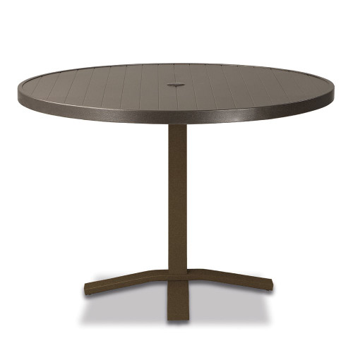 "Telescope Casual Aluminum Slat 36"" Round Dining Table with Pedestal Base"