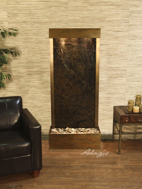 Harmony River (Flush Mounted Towards Rear Of The Base) - Rainforest Green Marble - Rustic Copper